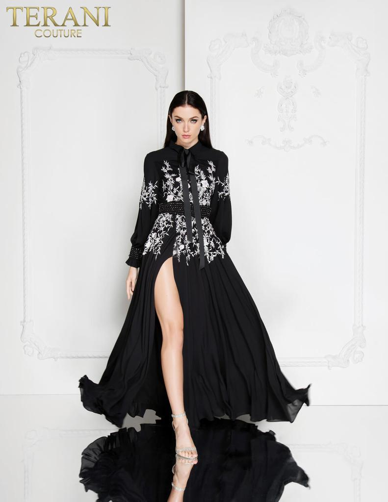 TERANI EMBELLISHED HIGH NECK GOWN