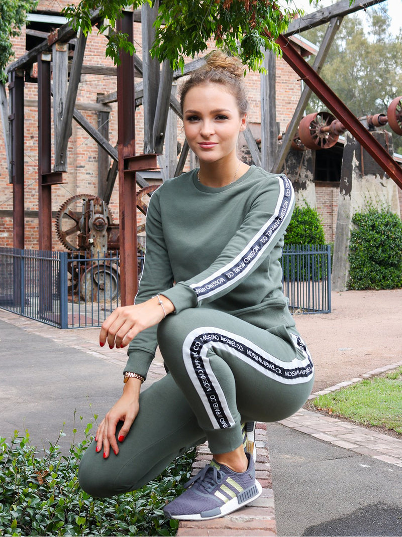 MOSSIMO OIL GREEN CREW NECK JUMPER