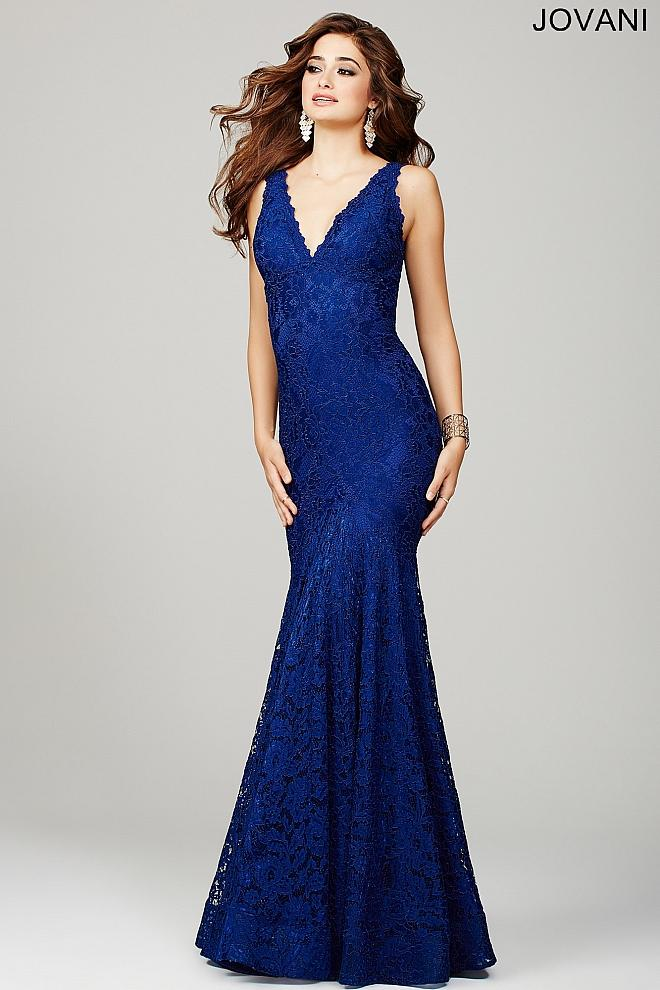 NAVY SLEEVELESS FITTED LACE JOVANI DRESS