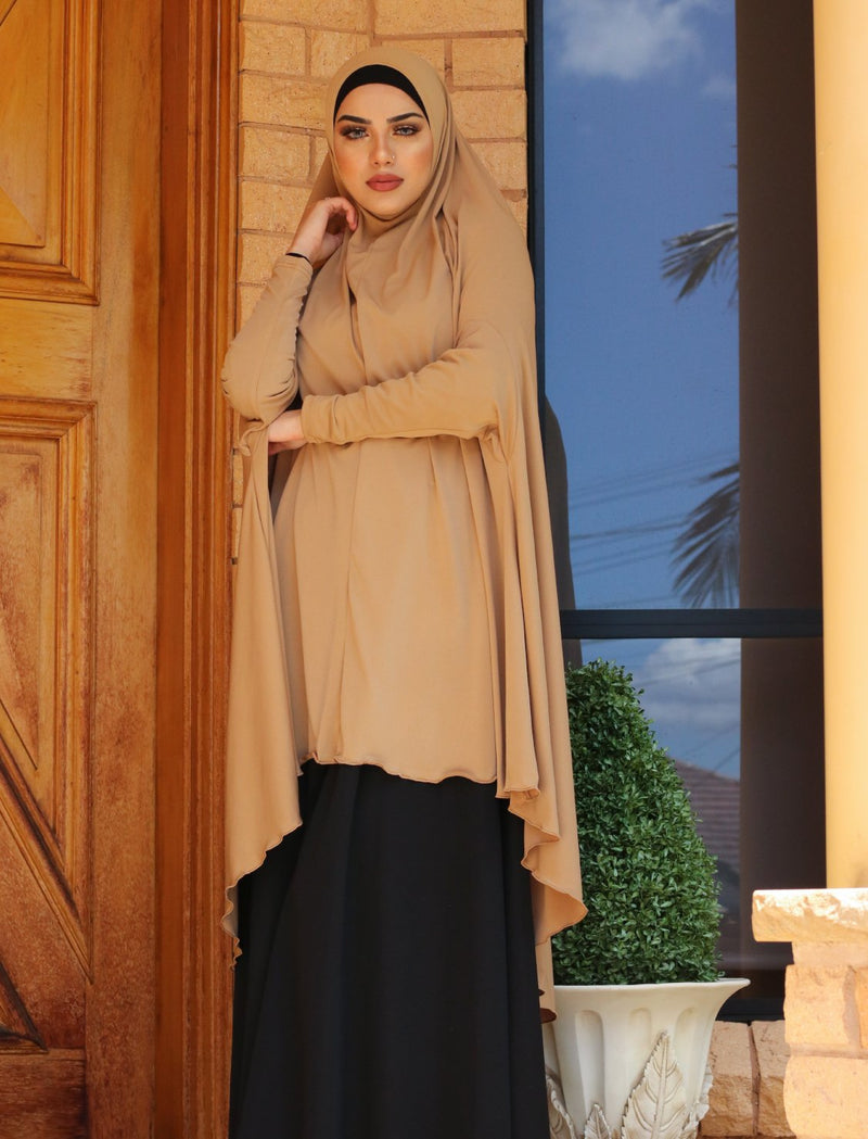 CAMEL JILBAB WITH SLEEVES