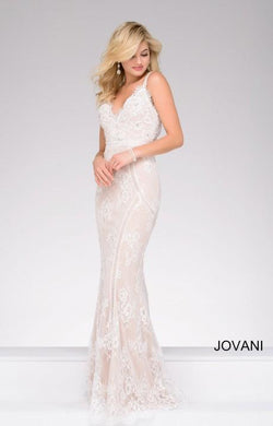 Lace and Rhinestone Slim fitted Dress by jovani