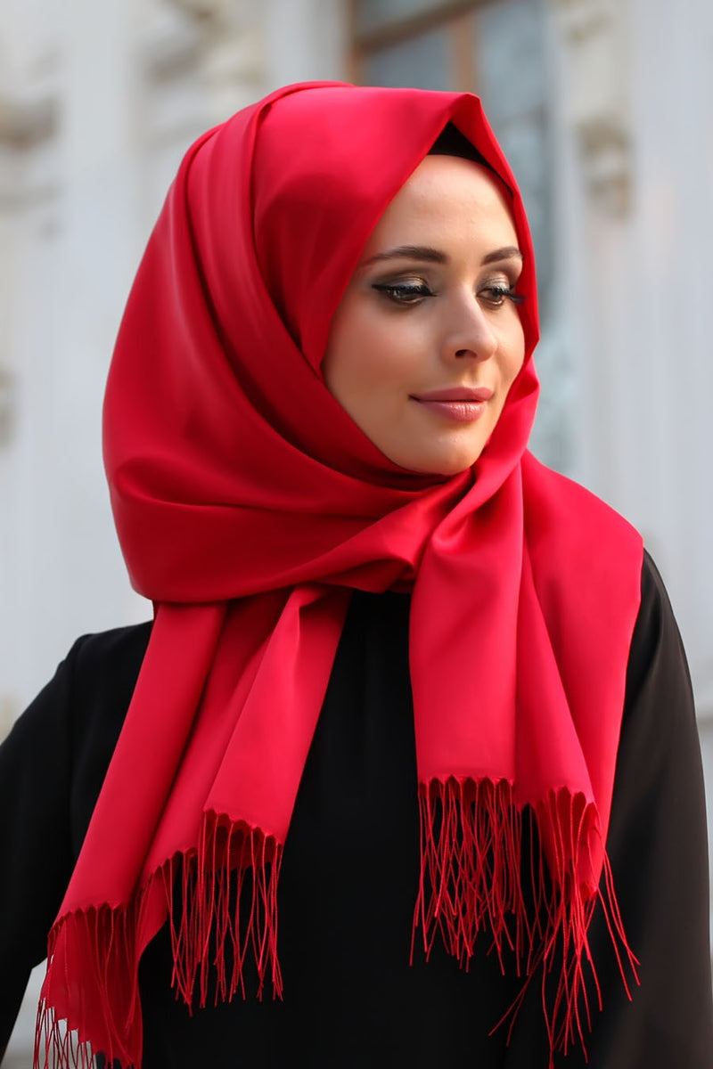 Red Cotton Hijab with Tassels