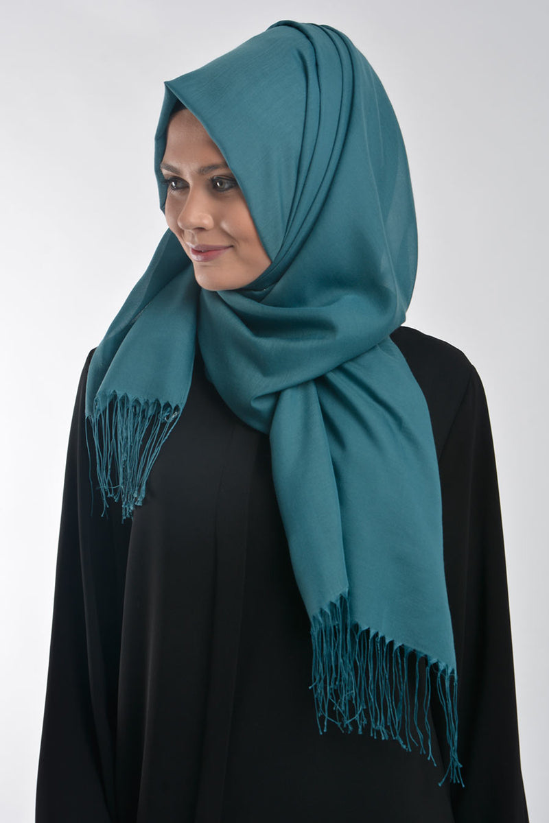 Aqua Cotton Hijab with Tassels