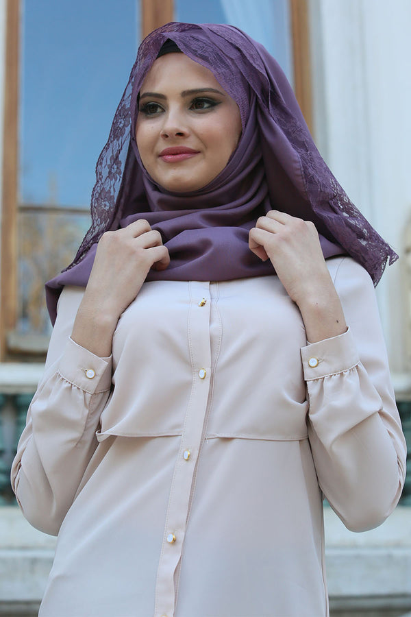 LIGHT PURPLE LACE EDGE SCARF