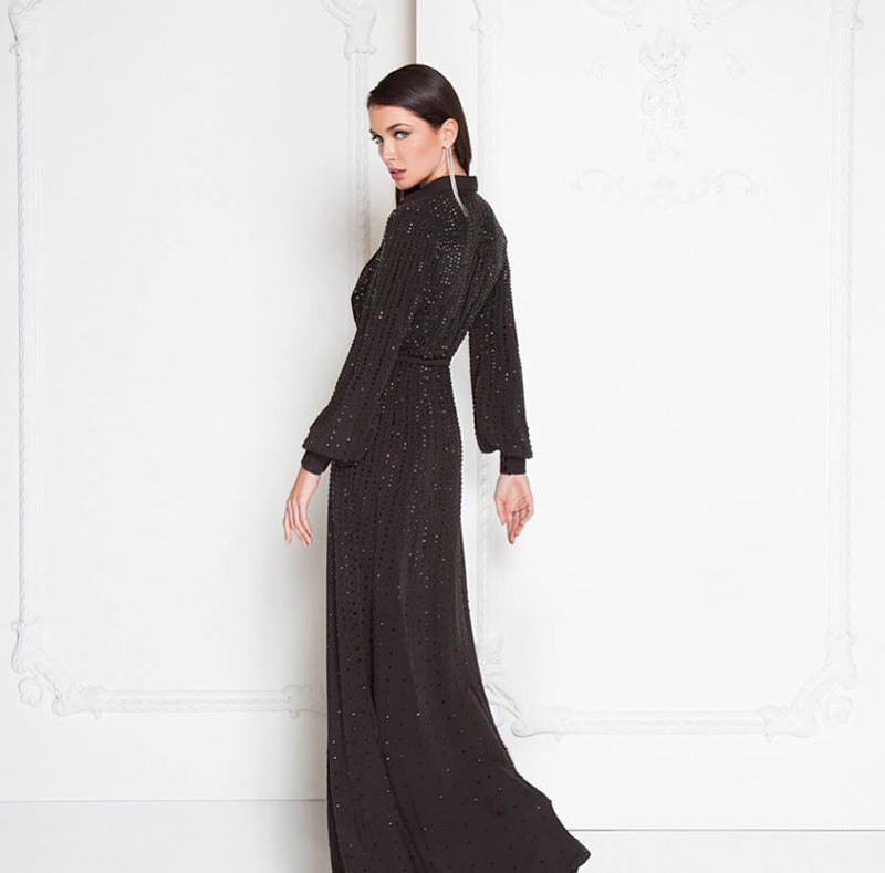 TERANI BEADED BLACK LONG DRESS