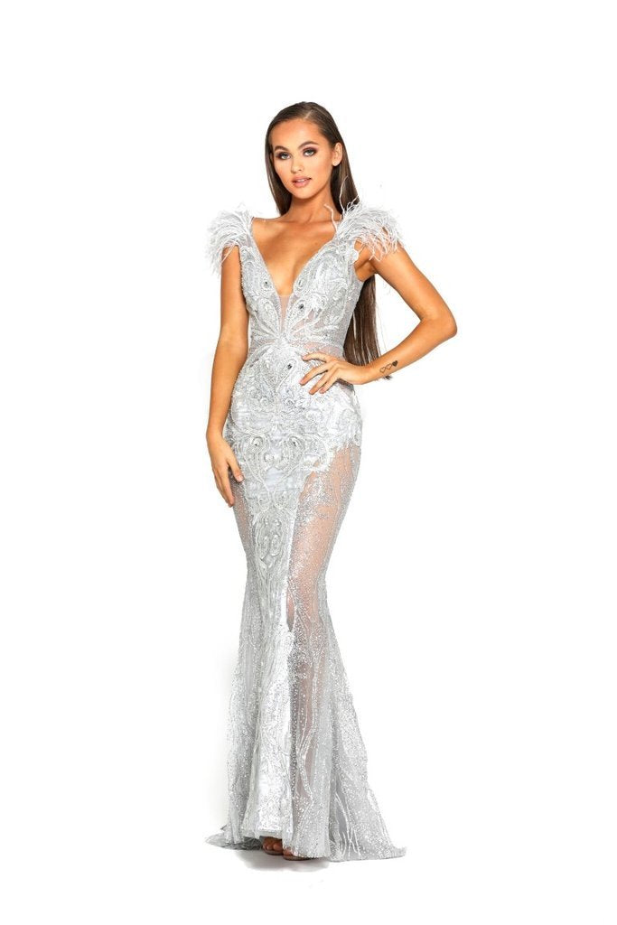 PORTIA AND SCARLET FUFU GOWN SILVER DRESS