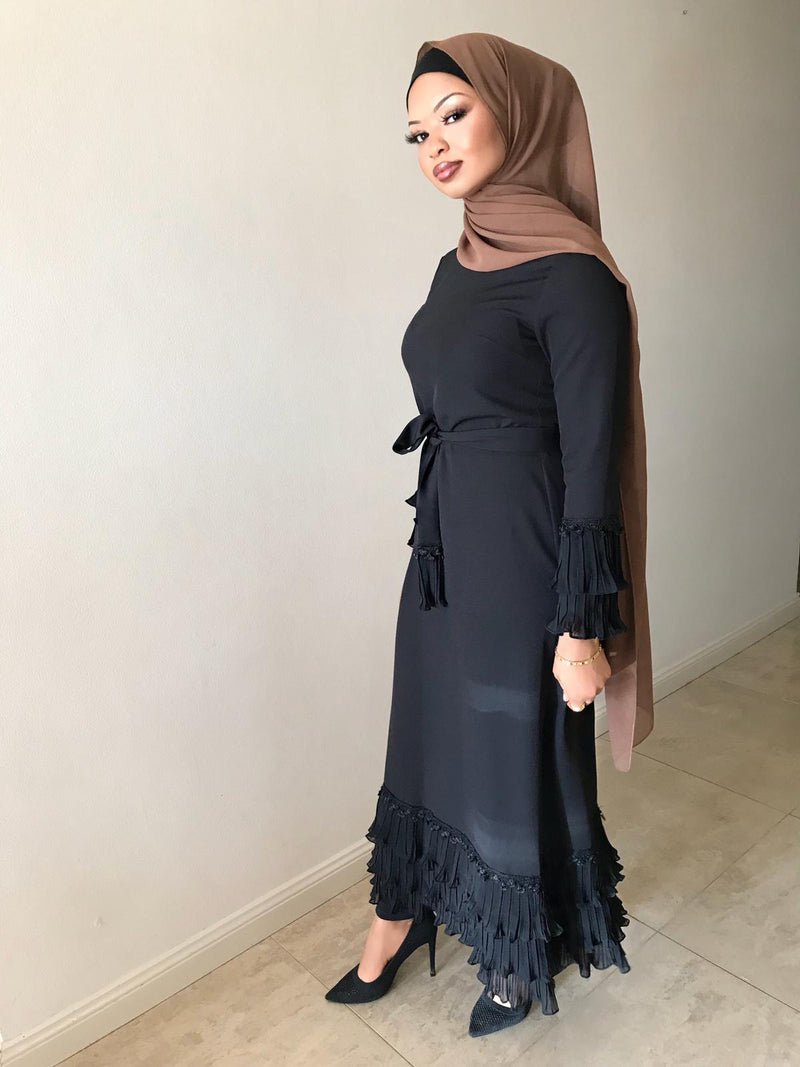 TIERED PLEAT DRESS