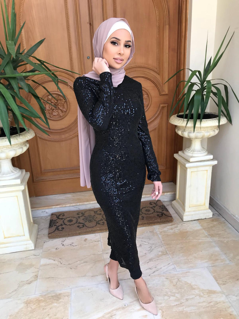 TINAHOLY FITTED SEQUINS DRESS