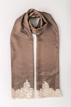 SATIN LACE TRIM SCARF