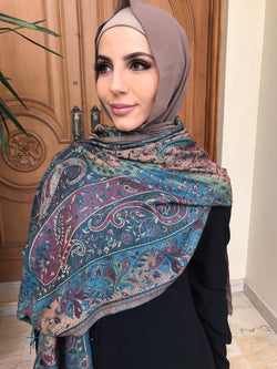 CRAFTED SPRAY GREEN PASHMINA