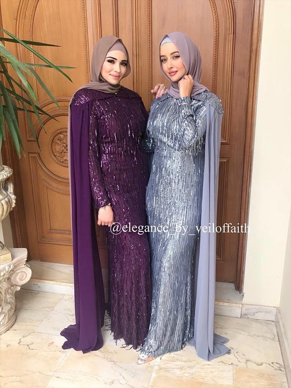 ALANNAH PURPLE & GREY GOWN