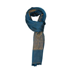 DARK TURQUOISE-GOLD COTTON SCARF