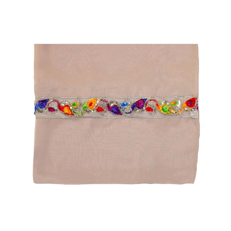 EMBROIDERED TRIM SCARF