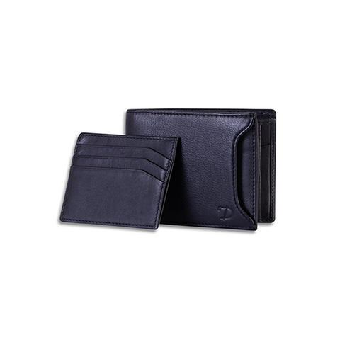 Men's RFID Secure Leather Wallet + Lost & Found Service Card - Black - Davy Taylor