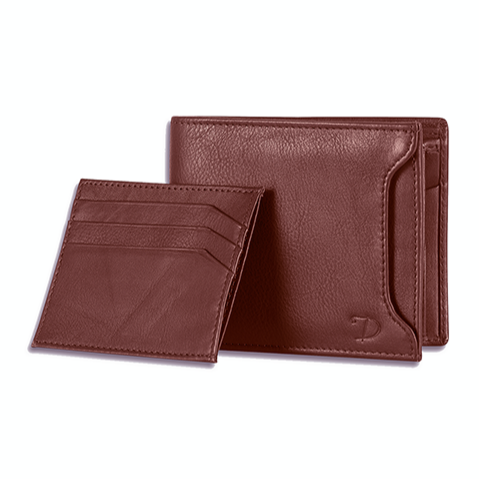 Men's RFID Secure Leather Wallet + Lost & Found Service Card - Tan - Davy Taylor