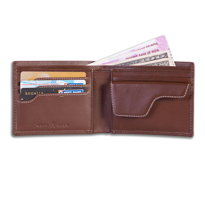 Men's Leather Wallet + Lost & Found Service Card - Brown - Davy Taylor