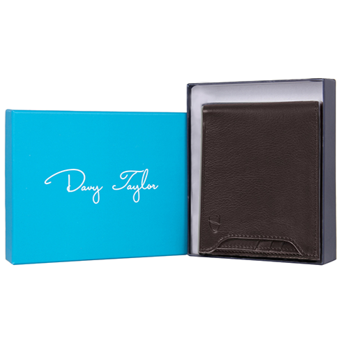 Men's RFID Secure Leather Wallet + Lost & Found Service Card - Dark Brown - Davy Taylor