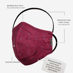 Ultra Premium Giza Cotton Mask with 5 Layer Filters (Maroon)