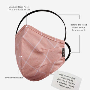 Ultra Premium Giza Cotton Mask with 5 Layer Filters (Peach)