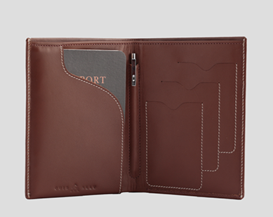 Leather Passport Wallet + Pen + Notepad - Brown - Davy Taylor