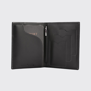 Leather Passport Wallet + Pen + Notepad - Black - Davy Taylor