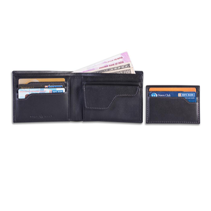 Men's Leather Wallet + Lost & Found Service Card - Black - Davy Taylor