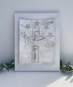 Double Mounted Canvas Jesus With Stars II