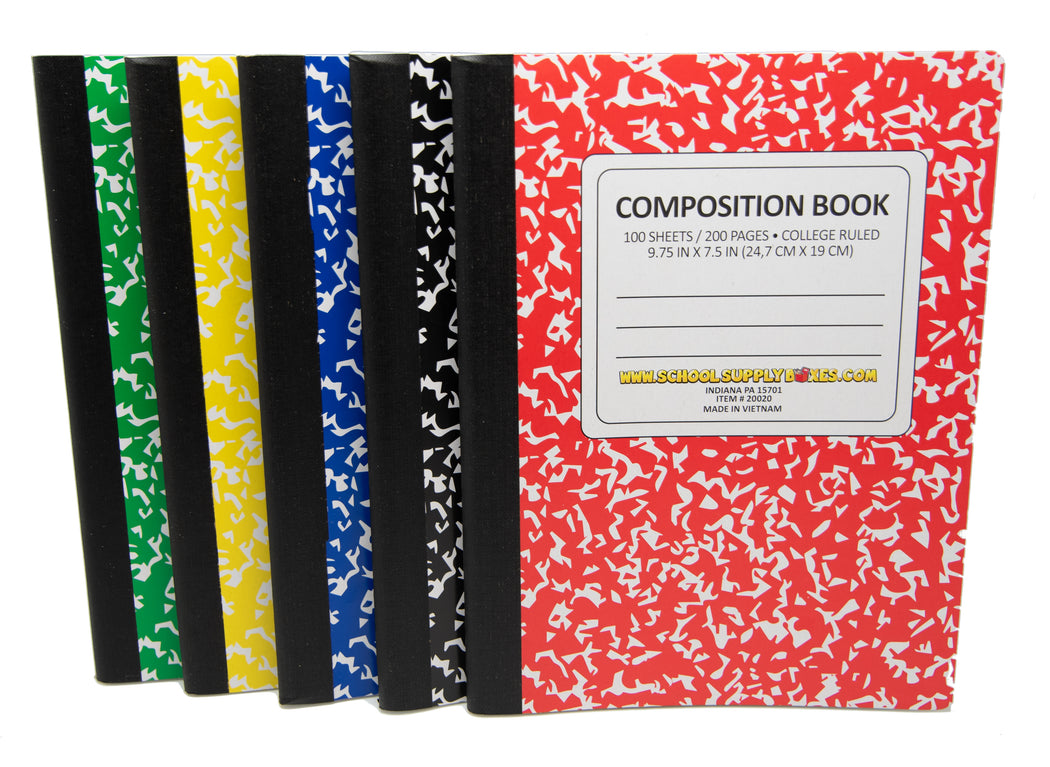 100 Sheet Composition Notebooks - School Supplies Bundle - 5 Composition Notebooks - 1 Black, 1 Red, 1 Green, 1 Blue, and 1 Yellow