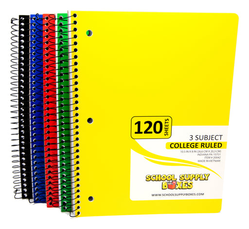 College Ruled Spiral Notebook 3 subject