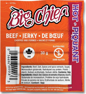 30g Hot  Beef Jerky from Big Chief Meat Snacks Calgary