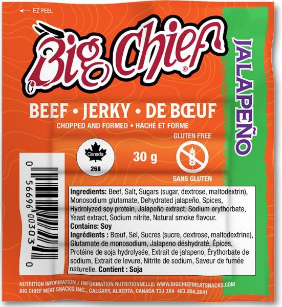 30g Jalapeno  Beef Jerky from Big Chief Meat Snacks Calgary