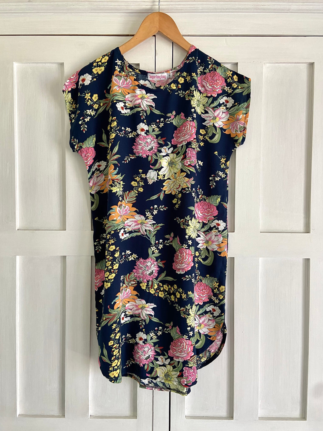 Shift Dress in Navy & Vintage Floral