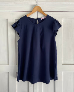 Venice Frill Top in Navy