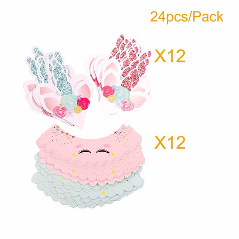 Unicorn Cake Toppers 24pcs Pink Rainbow Birthday Wrappers Happy Decor Party