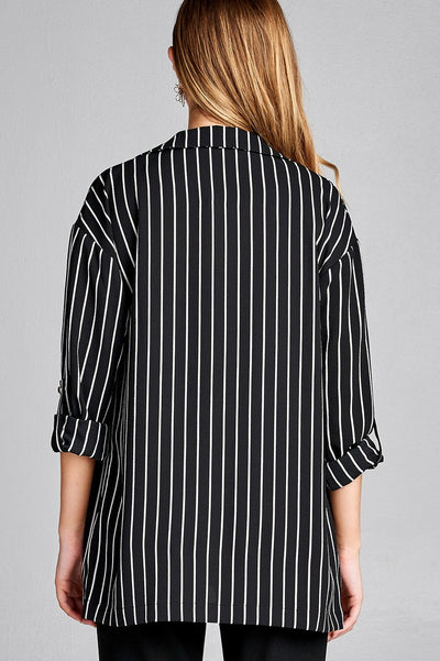 Roll Up Sleeve Open Front Stripe Jacket