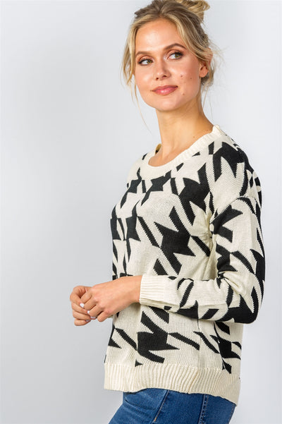 Houndstooth Honey Geo Print Sweater (more colors)