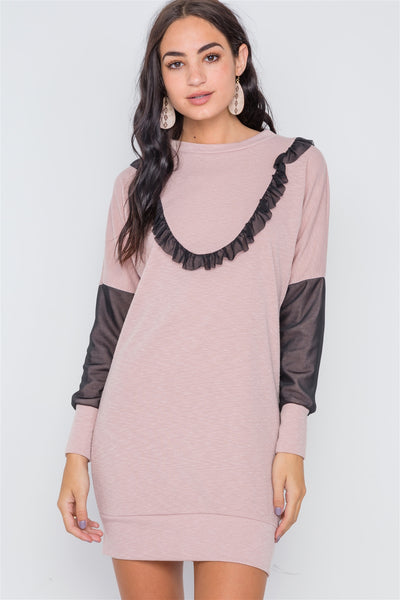 Mesh Detail Mini Sweater Dress