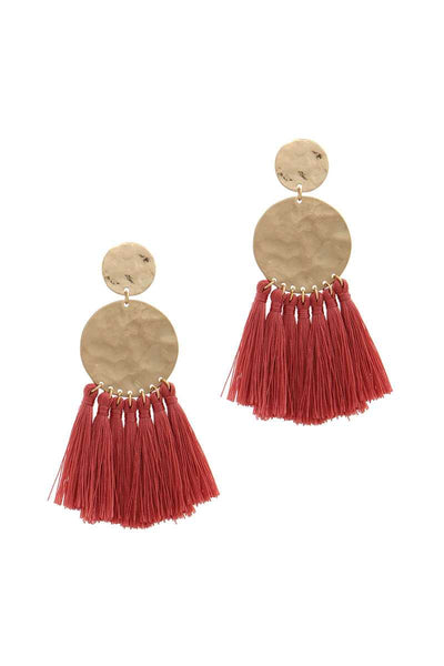 Double Hammered Circle Tassel Drop Earring
