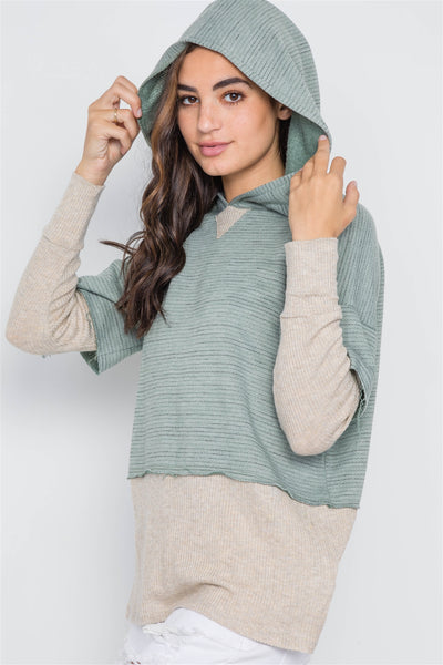 Combo Hooded Sweater with Contrast Hem