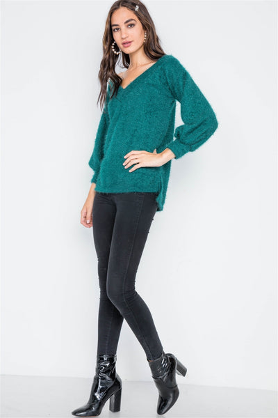 Teal Fuzzy V-neck Sweater