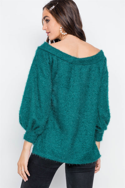 She's a Real One Teal Fuzzy Sweater