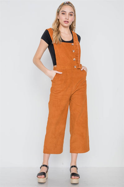 Camel Corduroy Button Front Ankle Length Overall