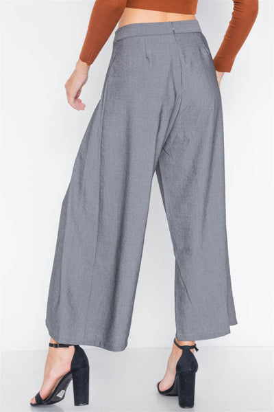 High Waist Front Tie Wide Leg Pants