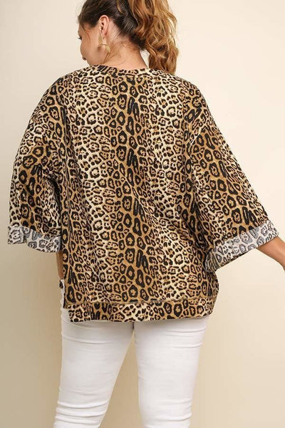Jaguar Print Cuffed 3/4 Sleeve Top (more colors)