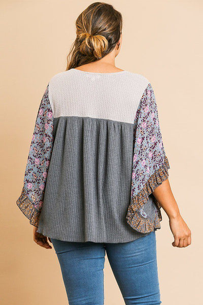 Sheer Floral Mixed Print Top