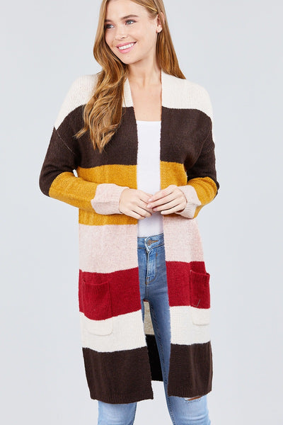 Open Front with Pocket Color Block Cardigan