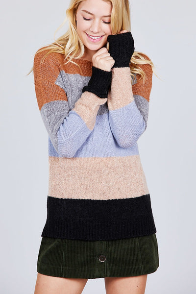 Round Neck Color Block Sweater