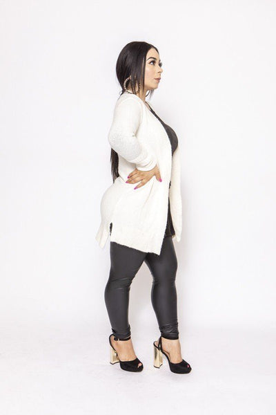 Waffle Knit Cardigan With Back Detail