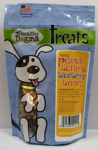 Healthy Dogma Peanut Butter Blueberry Mini Bones Treats 6oz Bag-biscuit-WOOFALICIOUS.SG