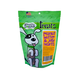 Healthy Dogma Peanut butter and Jelly hearts (small soft treats) 6oz bag-WOOFALICIOUS.SG